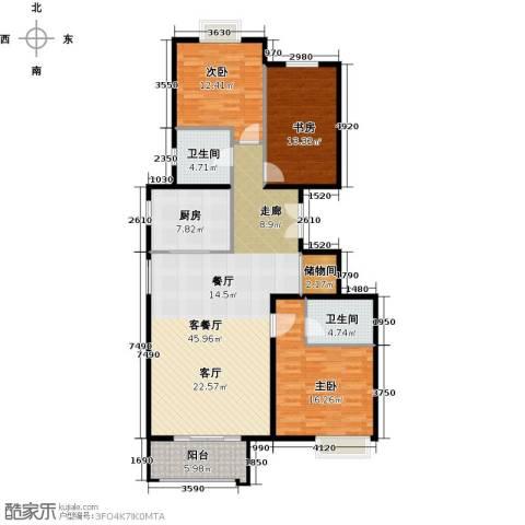 住总尚清湾3室1厅2卫1厨125.00㎡户型图