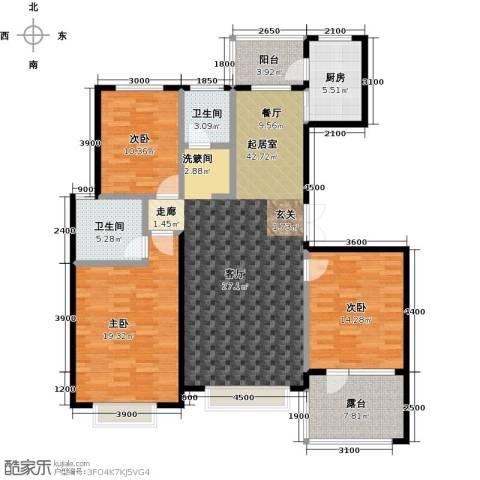 河海丽湾3室0厅2卫1厨142.00㎡户型图