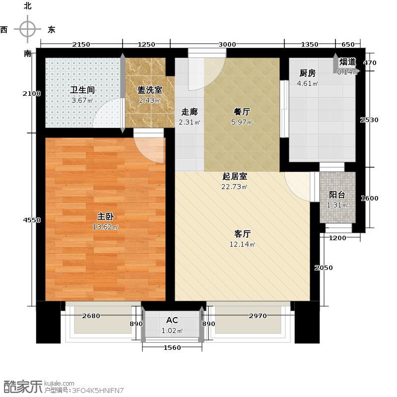 远洋城73.36㎡3号楼 C2户型 一室两厅户型1室2厅1卫