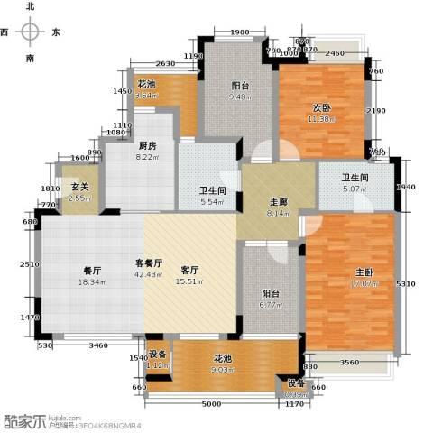 万科红郡2室1厅2卫1厨171.00㎡户型图