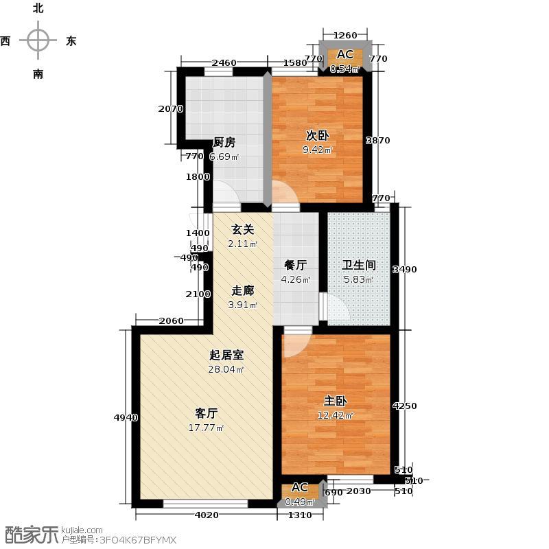 远洋风景90.00㎡远洋风景户型图Ⅱ-G户型二室二厅一卫(2/11张)户型2室2厅1卫