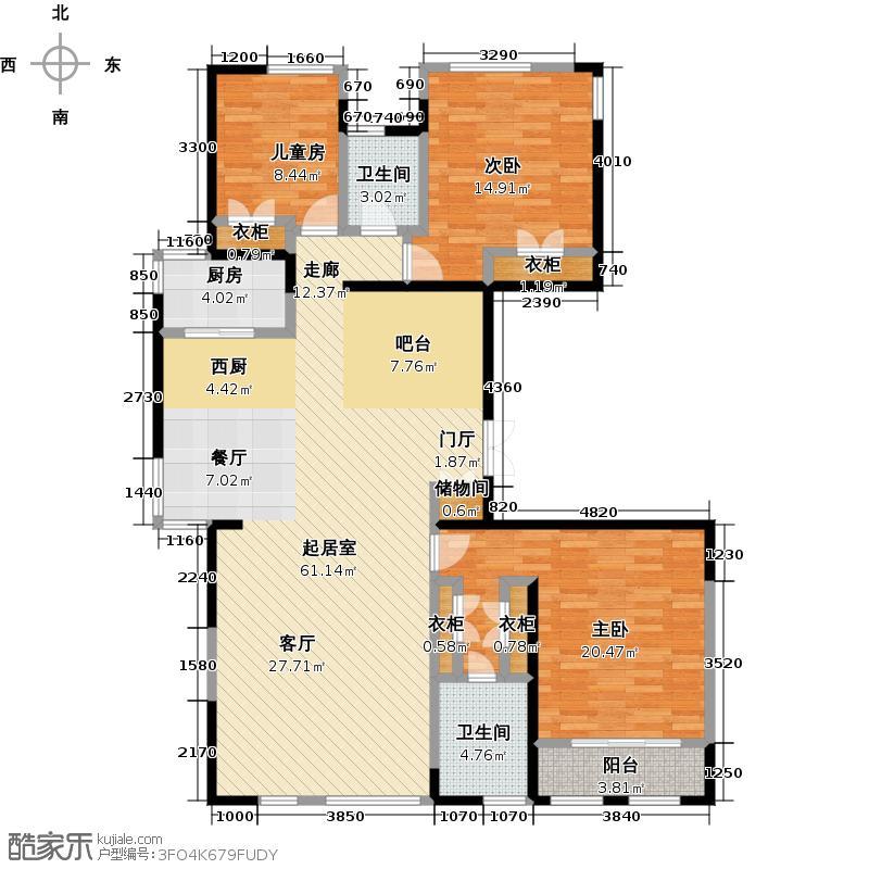 犀地180.00㎡三室二厅二卫户型