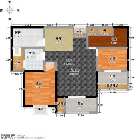 盛辉仕林东湖3室0厅1卫1厨90.00㎡户型图
