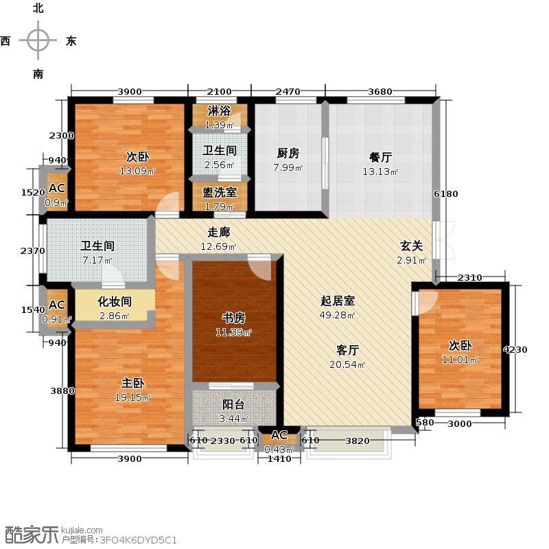 远洋风景170.00㎡远洋风景户型图Ⅱ-X户型四室二厅二卫(1/1张)户型4室2厅2卫