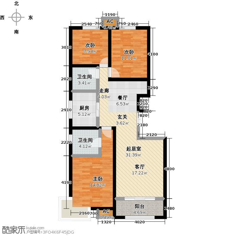 远洋风景120.00㎡远洋风景户型图瞰景洋房-11F-I(10/13张)户型3室2厅2卫