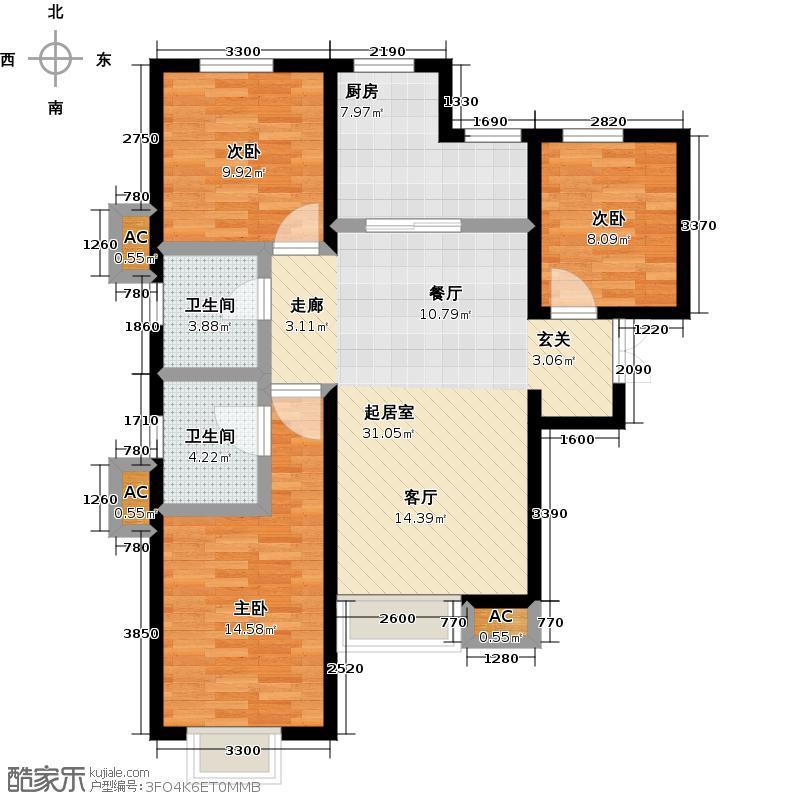 远洋风景115.00㎡远洋风景户型图Ⅱ-C户型三室二厅二卫(8/13张)户型3室2厅2卫