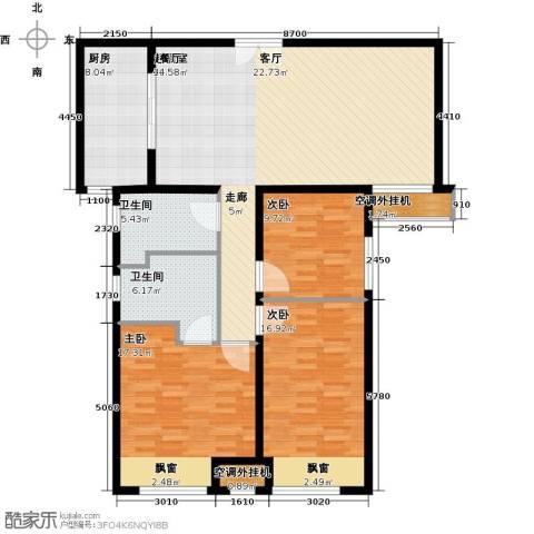 中海・御湖翰苑3室0厅2卫1厨150.00㎡户型图