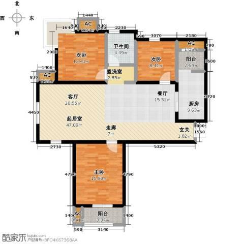 金海湾公寓3室0厅1卫1厨123.00㎡户型图