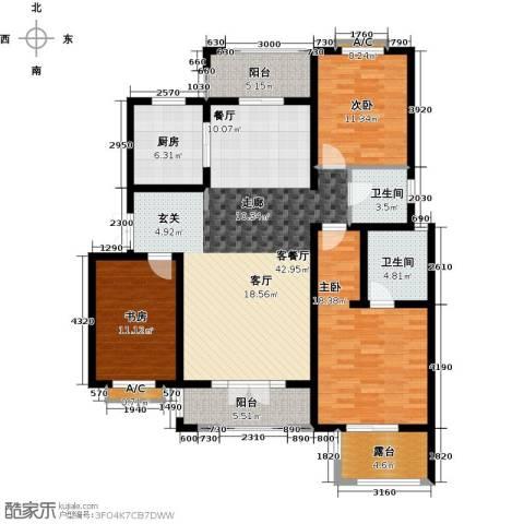 加州玫瑰园3室1厅2卫1厨130.00㎡户型图