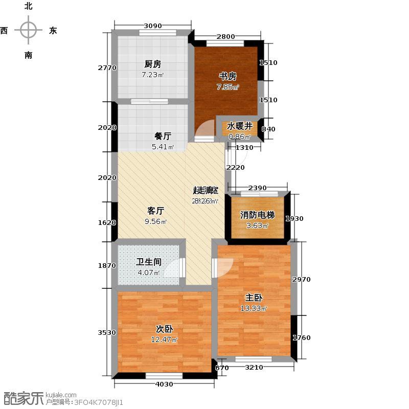 卧龙福地107.51㎡F4标准户型3室2厅1卫