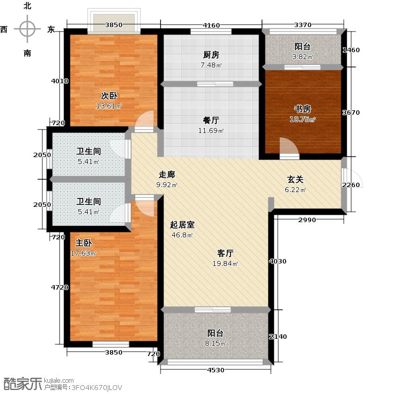 远洋风景136.00㎡1A户型三室两厅两卫户型3室2厅-T