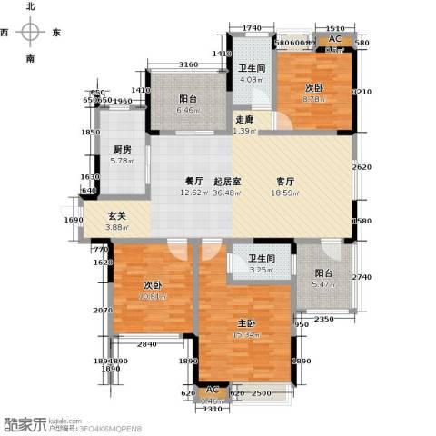恒大晶筑城3室0厅2卫1厨121.00㎡户型图