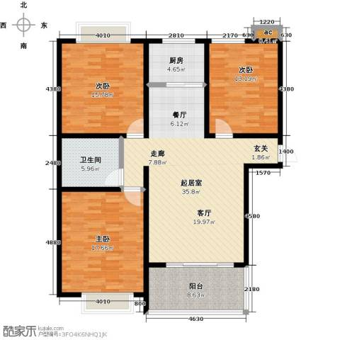 鑫苑名家3室0厅1卫1厨144.00㎡户型图