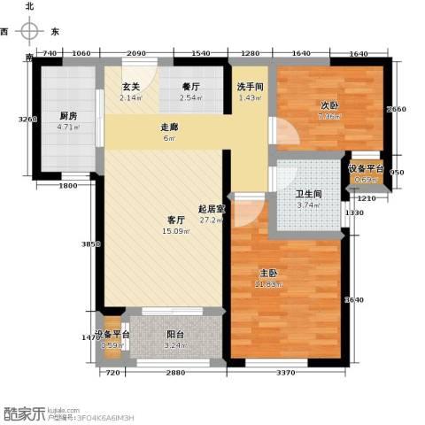 北宁湾2室0厅1卫1厨94.00㎡户型图