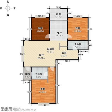 锦绣华城3室0厅2卫1厨123.00㎡户型图