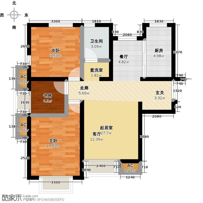 远洋风景风景公寓-18F-D户型3室1卫1厨