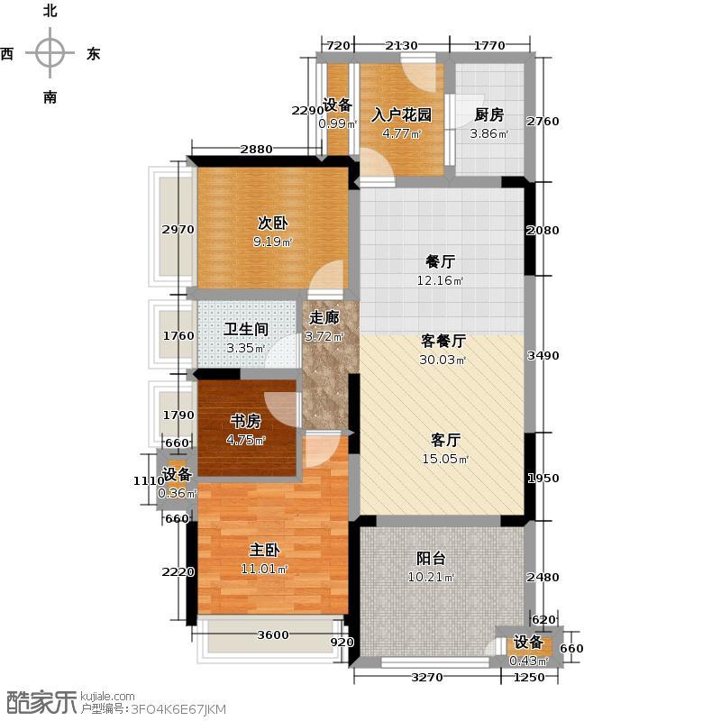 绿城上岛79.73㎡3号楼A户型2室2厅1卫 套内79.73㎡户型2室2厅1卫