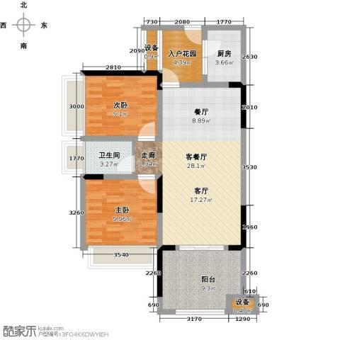 绿城上岛2室1厅1卫1厨74.00㎡户型图