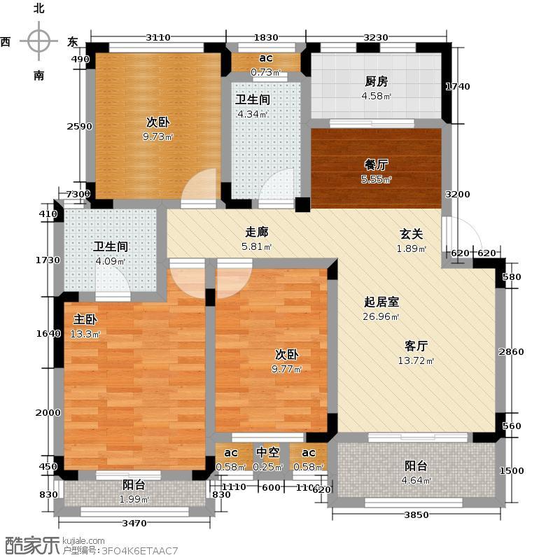 泰和郡98.00㎡多层洋房4F户型3室2厅2卫