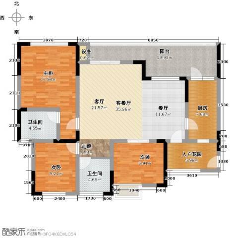 绿城上岛2室0厅2卫1厨125.00㎡户型图