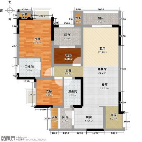 绿城上岛3室1厅2卫1厨84.00㎡户型图