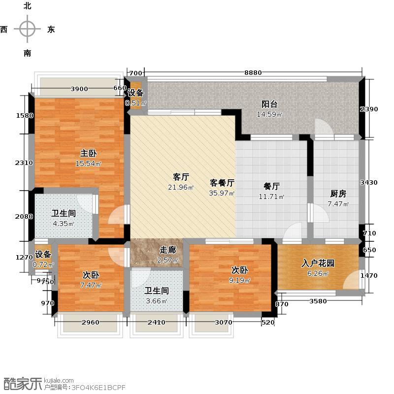 绿城上岛108.50㎡3号楼B户型3室2厅2卫套内108.5㎡户型3室2厅2卫