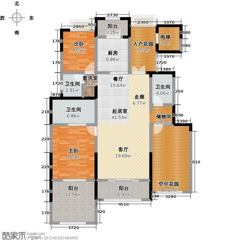 金科王府155.82㎡洋房3F 04室户型2室2厅2卫