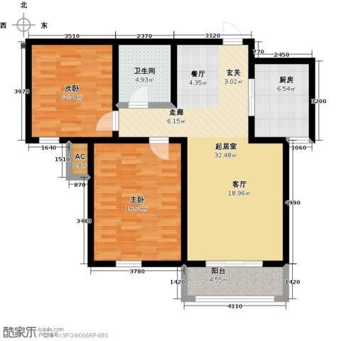 金海湾公寓2室0厅1卫1厨93.00㎡户型图