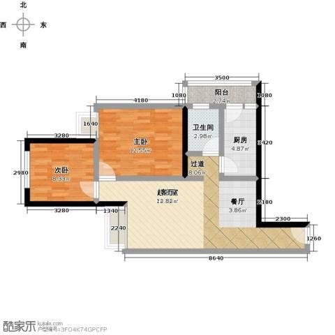 汇通大厦2室0厅1卫1厨83.00㎡户型图