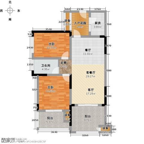 绿城上岛2室1厅1卫1厨86.00㎡户型图