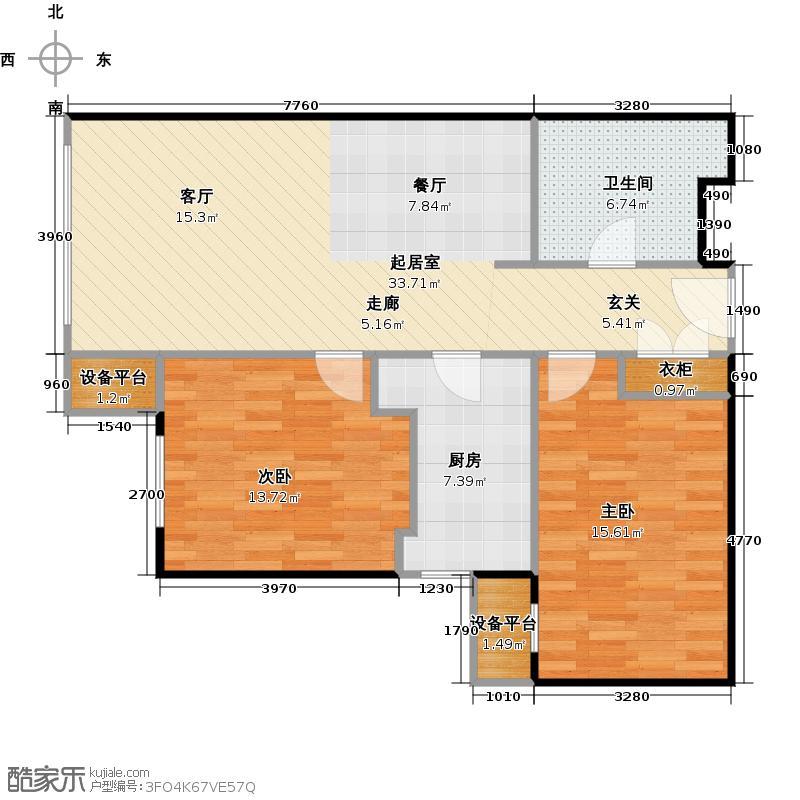 橡树湾87.00㎡T户型2室2厅1卫1厨户型2室2厅1卫