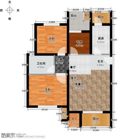 北大资源・理城3室1厅1卫1厨111.00㎡户型图