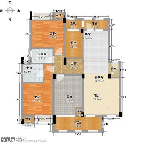 万科红郡2室1厅2卫1厨114.00㎡户型图