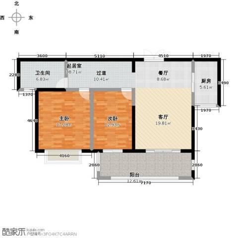 国贸天琴湾2室0厅1卫1厨107.00㎡户型图