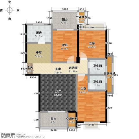 盛辉仕林东湖3室0厅2卫1厨120.00㎡户型图