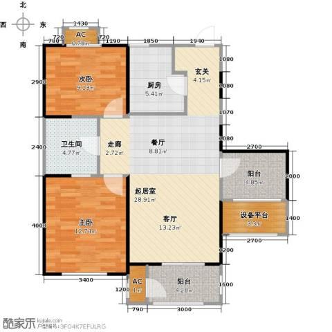华都・襄湾壹号2室0厅1卫1厨92.00㎡户型图