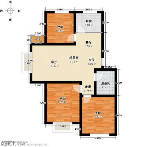 兴盛景悦蓝湾3室0厅1卫1厨107.00㎡户型图