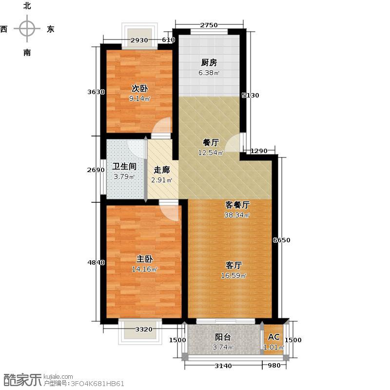 翠堤雅筑82.00㎡二房二厅-82-93平米户型
