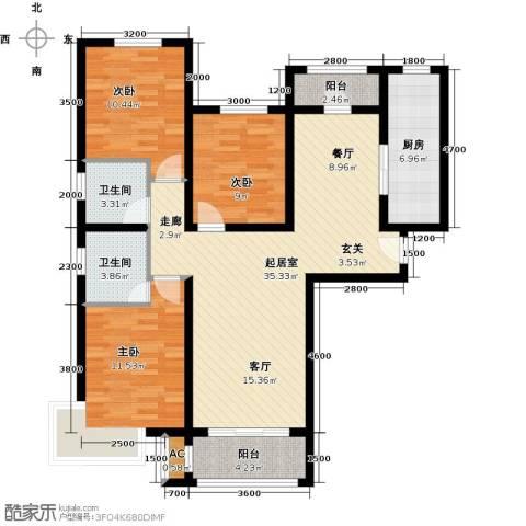 东方晨曲花苑3室0厅2卫1厨124.00㎡户型图