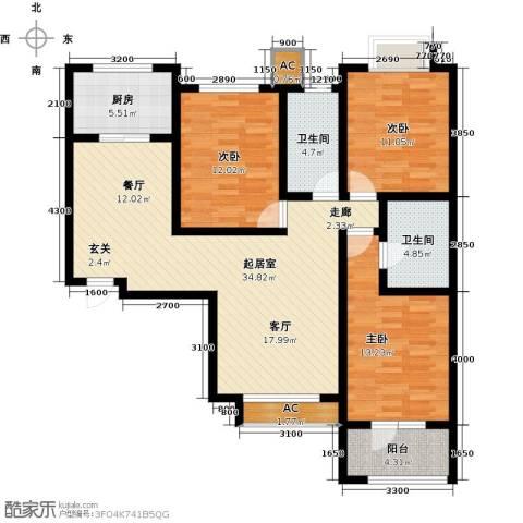 中环广场3室0厅2卫1厨136.00㎡户型图