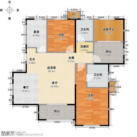 华都・襄湾壹号2室0厅2卫1厨122.00㎡户型图