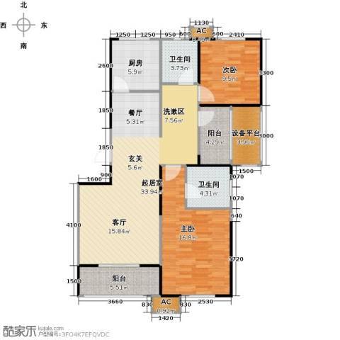 华都・襄湾壹号2室0厅2卫1厨121.00㎡户型图