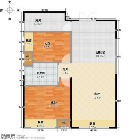 振业城中央2室0厅1卫1厨98.00㎡户型图