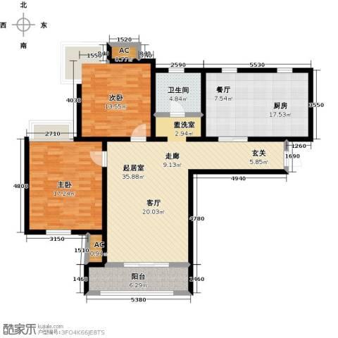 金海湾公寓2室0厅1卫1厨114.00㎡户型图