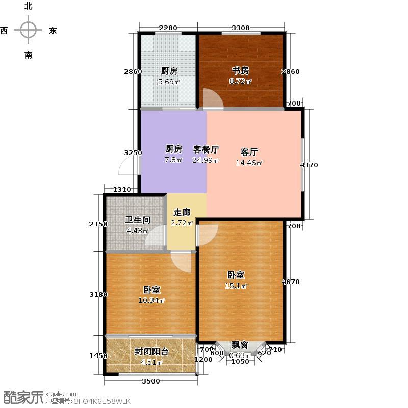 建泰香海府第86.99㎡E户型3室2厅1卫