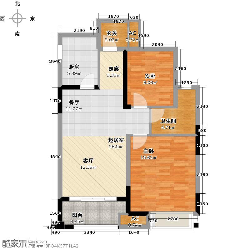 金科天籁城81.00㎡2室2厅1卫户型2室2厅1卫-T