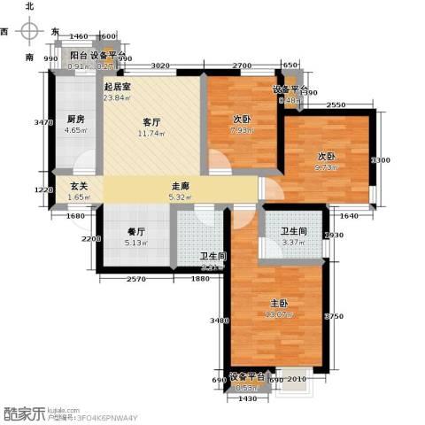 天和林溪3室0厅2卫1厨99.00㎡户型图