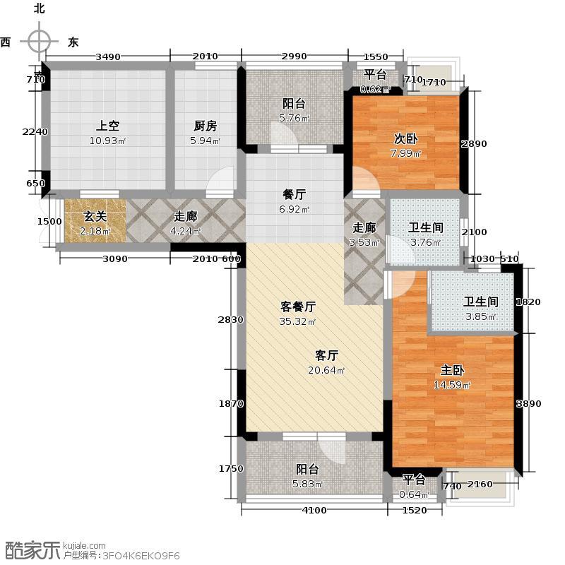 航天兴隆国际110.00㎡1号楼A3户型 三房两厅两卫户型3室2厅2卫