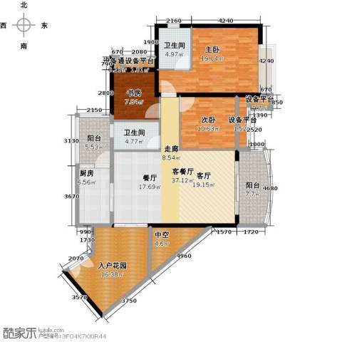 正和中州3室1厅2卫1厨128.70㎡户型图