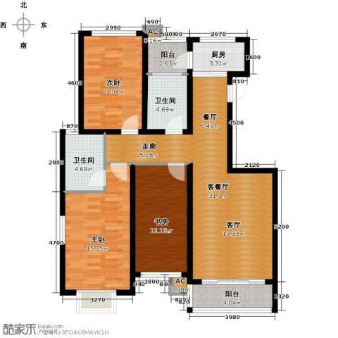 领世公馆3室1厅2卫1厨131.00㎡户型图